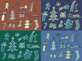 Winter pattern drawn illustration of a theme color variations vector christmas Royalty Free Stock Photos