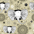 Winter pattern with pictures of elephants Royalty Free Stock Photo