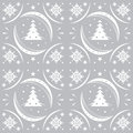 Winter pattern silver snowflakes and christmas trees Royalty Free Stock Images