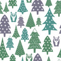 Winter pattern - varied Xmas trees, owls and snowflakes. Simple seamless Happy New Year background. Royalty Free Stock Photo