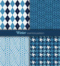Winter patterns seamless blue and white fabric Royalty Free Stock Image