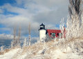Winter Point Betsie Lighthouse in Michigan Royalty Free Stock Photo