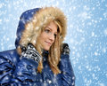 Winter portrait beautiful girl falling snow Stock Photo