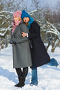 Winter portrait of fashion female friends. Affection and friendship forever Concept Royalty Free Stock Photo