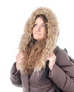 Winter portrait figure of a girl tourist in clothes Stock Image