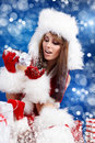 Winter portrait of a santa  woman Stock Images