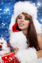 Winter portrait of a santa  woman Royalty Free Stock Photos
