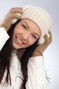 Winter portrait of smiling woman young attractive dressed warm Royalty Free Stock Image