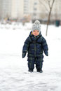 Winter portrait of toddler boy Royalty Free Stock Photo