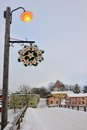 Winter porvoo sightseeing new year decorations and riverside buildings in old at cold day Stock Photography