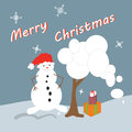 Winter postcard background with snowman Royalty Free Stock Images