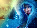 Winter queen beautiful girl in outfit with fur on snowy background Royalty Free Stock Photos