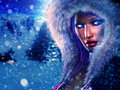 Winter queen beautiful girl in outfit with fur on snowy background Stock Photo