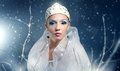 Winter queen on black background Royalty Free Stock Photo