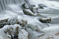 Winter, Rabbit River Cascade Stock Photos
