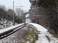 Winter railway track of mountain tramway in linz Stock Images