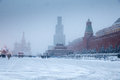 Winter at Red Square with Cathedral of Saint Basil the Blessed and Lenin mausoleum Royalty Free Stock Photo