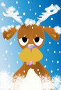 Winter reindeer Christmas card Royalty Free Stock Photography