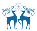Winter reindeer with pretty snowflake and north star Royalty Free Stock Photos