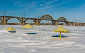 Winter on a river beach in dnepropetrovsk city ukraine Royalty Free Stock Image