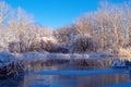 Winter river nature composititon Royalty Free Stock Photos