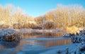 Winter river nature composititon Stock Image