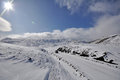 Winter road on kamchatka to gorely volkano Stock Photo