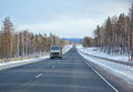 Winter road m named baikal in siberia with truck Royalty Free Stock Photography