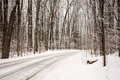 Winter road a snow covered winds it s way through a tree lined park Royalty Free Stock Photos