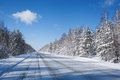 Winter road in snow fores Royalty Free Stock Photo