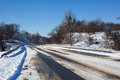 Winter road in snow fores Royalty Free Stock Photography