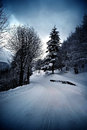 Winter road with snow italy Royalty Free Stock Images