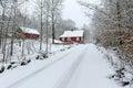 Winter road to swedish village idyllic landscape of Royalty Free Stock Photo