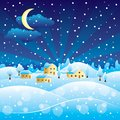 Winter rural landscape with christmas snowfall night in village Stock Images