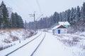 Winter Rural Landscape Railway