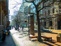 Winter's day in a pedestrian mall Royalty Free Stock Photo