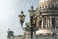 Winter in Saint Petersburg. Saint Isaac Cathedral in snowstorm, St Petersburg, Russia Royalty Free Stock Photo