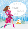 Winter sale abstract card with a beautiful woman doing the shopping in Stock Photos