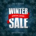 Winter sale badge, label, promo banner template. Special sale offer