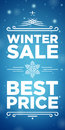 Winter sale and best price banner on blue background with snowflake in the middle Stock Photos