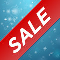 Winter sale big red ribbon sticker with Royalty Free Stock Photos