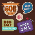 Winter sale fabric and knit set of labels style Stock Images