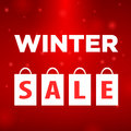 Winter sale four package labeled on red background Stock Image