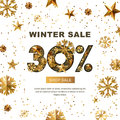 Winter sale 30 percent off, banner with 3d gold stars and snowflakes.