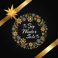 Winter Sale Poster in Frame Made of Snowflakes Royalty Free Stock Photo
