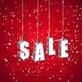 Winter sale red banner with white hanging letters