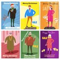 Winter sale. Set of card templates for posters. Characters of a man and a woman in winter clothes of different ages