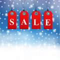Winter sale sign in snow background Royalty Free Stock Photography