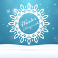 Winter sale snowflake outdoors beautiful banner on discounts in the form of snowflakes Royalty Free Stock Photo