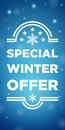 Winter sale special offer on blue background Royalty Free Stock Photography